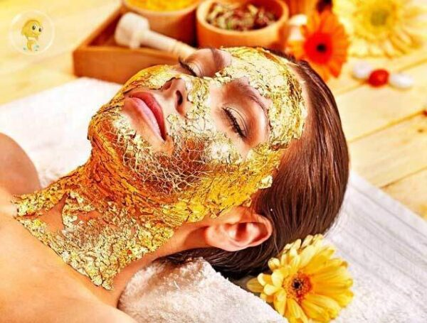 cosmetic gold leaf application