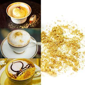 Gold Flakes on coffee and latte at Gold Leaf NZ